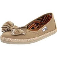 Skechers Women`s Bobs-Bow Down Flat,Khaki,6 M US