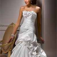 A-line strapless beaded flower court train satin white wedding dresses 2012 BAML0033