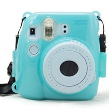 CAIUL Transparent Crystal Instant Camera Case for Fujifilm Instax Mini 8, Blue