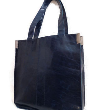 Navy Blue Leather Tote/ Handbag/ Purse