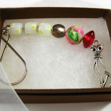 Beaded Key Ring, Handmade, Polymer Clay, Pink and White Glass Beads