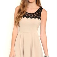 Short Pleated Skater Homecoming Dress with Illusion Lace Neckline