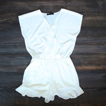 white lies romper frills shorts wrap playsuit