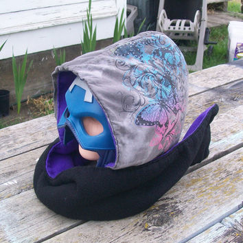 Upcycled Colorful Butterflies Shirt Fleece Hooded Scarf Scoodie OOAK