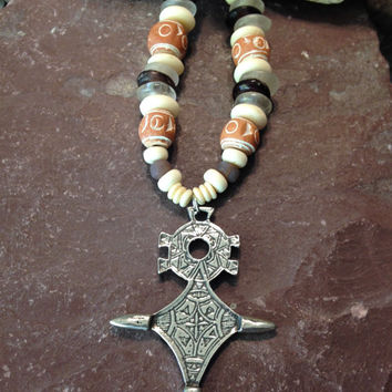 Berber Tribal Tuareg Cross of Agadez Necklace, Teneghelt, Ethnic, Sustainable, Organic, Jewelry