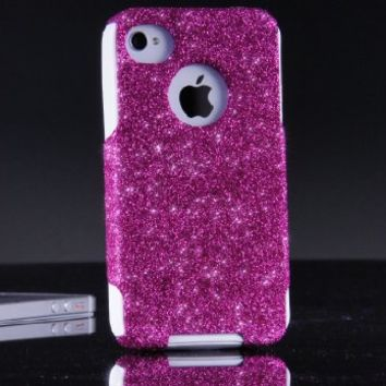 OtterBox Commuter Series Case for iPhone 4 4S - Custom Glitter Case for iPhone 4 4S - Raspberry/White