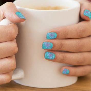 Funky Turquoise Minx Nails