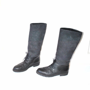size 8 tall SHERLING riding boots / vintage 1980s black leather KNEE HIGH winter riding boots