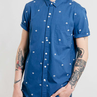 Blue Swirl Design Embroidered Short Sleeve Shirt - Clearance- TOPMAN USA