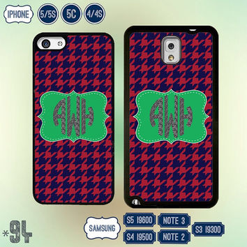 Monogram Houndstooth iPhone 5 case Custom Samsung Galaxy S5 case Samsung S4 cover Galaxy S3 Note 3 Note 2 , IPhone 5S , 5C , IPhone 4 4S 94