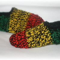 Rasta Crocheted Slippers- Michigan Made