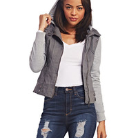 Relaxed Knit-Trimmed Jacket | Wet Seal