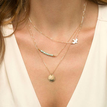 Layered Gold Necklace Set with Bird and Gemstones // 14K Gold Fill Layering Necklaces / Delicate Gold Layer Necklace Set of 3 Pieces LS912