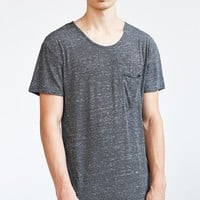 Feathers Stripe Open-Neck Long Tee - Urban Outfitters