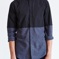 Your Neighbors Poplin Color-Blocked Curved-Hem Button-Down Shirt - Urban Outfitters