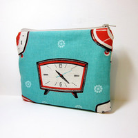 Small Zipper Pouch Small Wallet Small Cosmetic Pouch Retro Alarm Clock