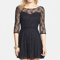 BP. Long Sleeve Lace Skater Dress (Juniors) | Nordstrom
