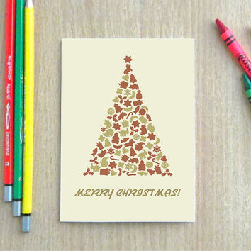 Christmas tree greeting card with envelope, Holiday card, Blank card,  Retro card, 4.25 x 5.5 inches folded