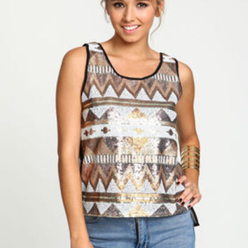 Tribal Sequin Chiffon Top - LoveCulture