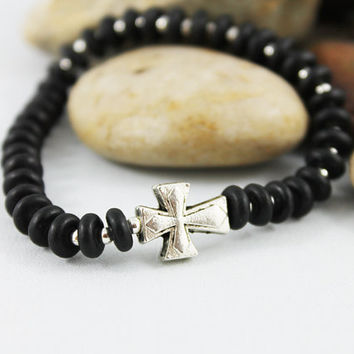 Unisex Onyx Cross Bracelet, Black Disc Beaded Stack Bracelet