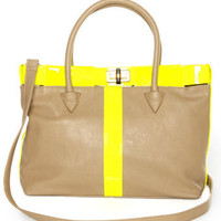 Chic Neon Yellow Tote - Taupe Tote - Vegan Purse - $49.00