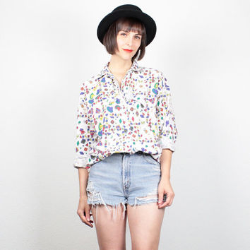 Vintage 80s Shirt White Rainbow Sombrero Hat TeePee Novelty Print Blouse Button Down Collared Shirt 1980s New Wave Top M Medium L Large XL
