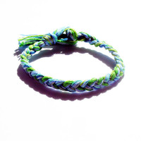 Braided Friendship Bracelet in Shades or Green and Blue