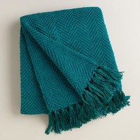Blue Chunky Chenille Throw with Tassels - World Market
