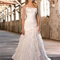 Tulle strapless a-line lace-up back wedding dresses 2012 BAML0025