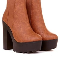 Kenzie PU Boot With Elasticated Side in Tan