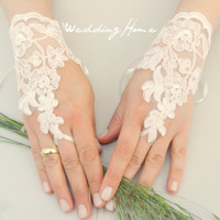ivory lace gloves, ivory  lace cuffs, collar, wrist cuffs and ivory wedding gown, off  cuffs, cuff wedding bride, bridal gloves, Ivory-,