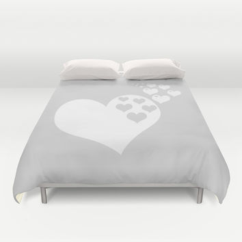 Gray White Hearts of Love Duvet Cover by BeautifulHomes