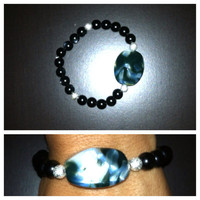 Black, Silver & Blue Stretchy Beaded Bracelet