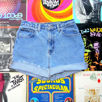 High Waisted Denim Shorts, Vintage 90s Light Wash Stone Washed Jean Shorts - Cut Off, Frayed, Rolled Up, Cuffed, Naturally Distressed Size 8
