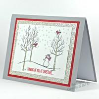 Winter Scene With Snowman And Red Cardinals Handmade Christmas Card