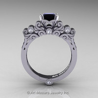 Classic Armenian 14K White Gold 1.0 Ct Princess Black and White Diamond Solitaire Wedding Ring R608-14KWGDBD