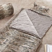 Fur Sleeping Bag, Grey Ombre