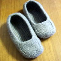 Felted Slippers Silver Women Men Children's Size