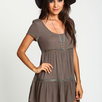 CREPE CROCHET BABYDOLL DRESS