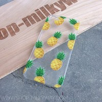 CLEAR PLASTIC CASE COVER for APPLE IPHONE 5/5S, 5C - PINEAPPLE OVERLOAD summer psych fruit love hipster