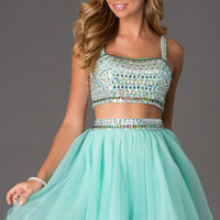 Short Two Piece Jewel Embellished Dress