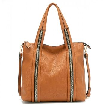 HauteChicWebstore Textured Double ZIpper Faux Leather Tote Tan www.shophcw.com
