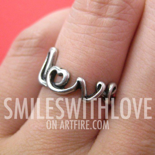 Love Cursive Letter Wire Wrapped Ring in Silver - Sizes 5 - 6