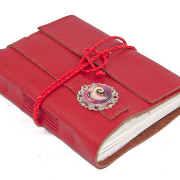 Red Leather Wrap Journal with Heart Cameo Bookmark