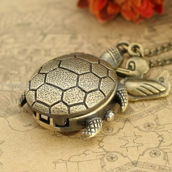 Vintage turtle pocket watch necklace with duck pendant