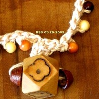 Crocheted Beige Choker with Wood Beads and OOAK Carved Wood Pendant