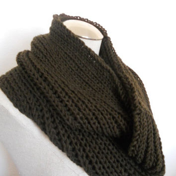 SALE ENDS OCT 1st!! Knit Cowl in brown, neckwarmer, scarf in chocolate brown yarn. Warm and soft for winter Womens Accessory Winter Fashion
