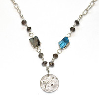 Labradorite Slice Necklace Silver Charm Necklace Labradorite Necklace Labradorite Jewelry Rustic Necklace Nature Jewelry Fall Finds