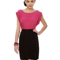 Chic Polka Dot Dress - Color Block Dress - Pink Dress - $39.00