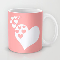 Coral White Hearts of Love Mug by BeautifulHomes